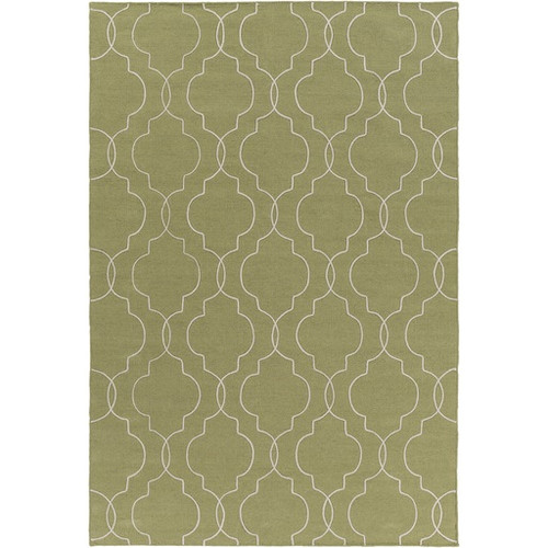 3.5' x 5.5' Quatrefoil Olive Green and White Hand Tufted Rectangular Wool Area Throw Rug - IMAGE 1