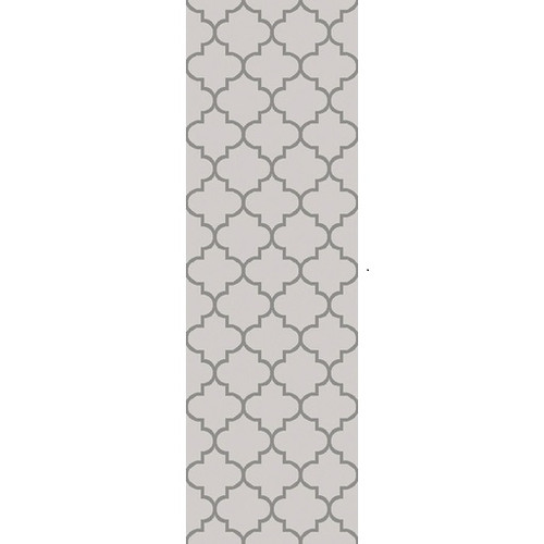2.5' x 8' Moroccan Charcoal Gray and Ivory Hand Woven Area Throw Rug Runner - IMAGE 1