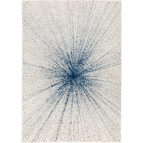 5.25' x 7.25' Abstract Patterned Aqua Blue Rectangular Area Throw Rug - IMAGE 1