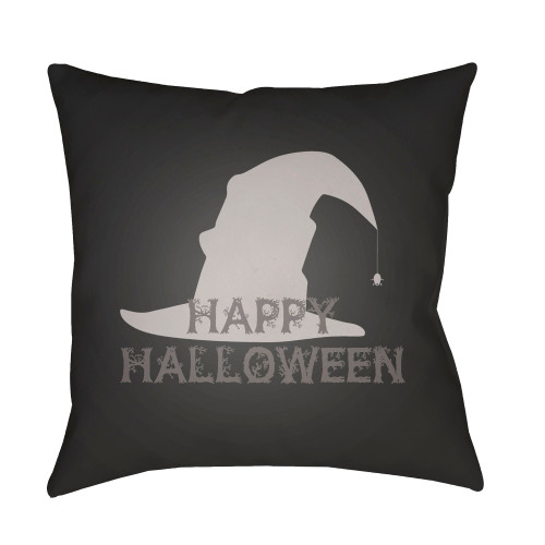 """20"""" Black and Gray """"Happy Halloween"""" Printed Square Throw Pillow Cover - IMAGE 1"""
