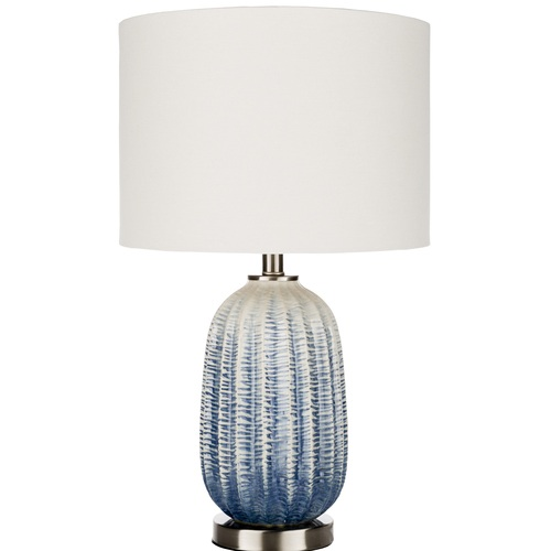 26 15 Navy Blue White Table Lamp With White Drum Shade