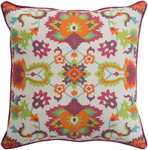 """20"""" Orange and Pink Screen Printed Floral Square Throw Pillow - Down Filler - IMAGE 1"""