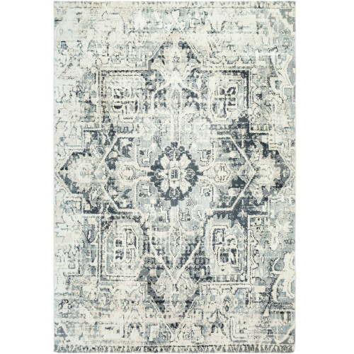 """5'3"""" x 7'6"""" Distressed Floral Persian Design White and Gray Rectangular Machine Woven Area Rug - IMAGE 1"""