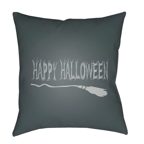 "20"" Black and Gray ""HAPPY HALLOWEEN"" Printed Throw Pillow Cover with Knife Edge - IMAGE 1"