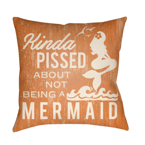 """26"""" Orange and Ivory Mermaid Typography Printed Square Throw Pillow Cover - IMAGE 1"""