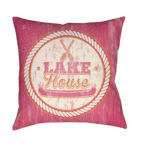 """26"""" Pink and Beige """"LAKE House"""" Printed Square Throw Pillow Cover with Knife Edge - IMAGE 1"""