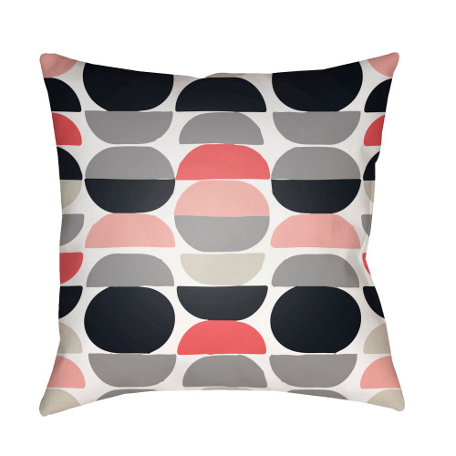 """18"""" Black and Pink Square Throw Pillow Cover with Knife Edge - IMAGE 1"""