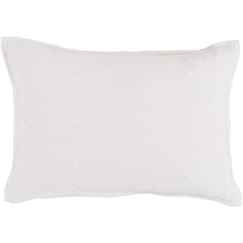 "19"" Powder White Diamond Embroidered Throw Pillow - Poly Filled - IMAGE 1"