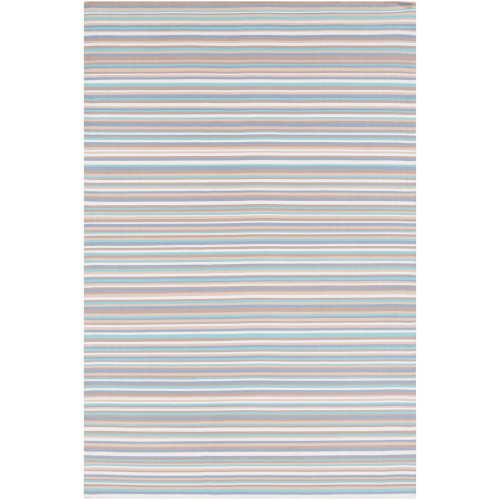 2' x 3' Striped Sapphire Blue and White Rectangular Area Throw Rug - IMAGE 1