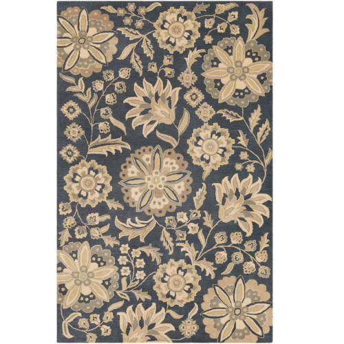 6' x 9' Floral Patterned Black and Beige Hand Tufted Wool Rectangular Area Throw Rug - IMAGE 1