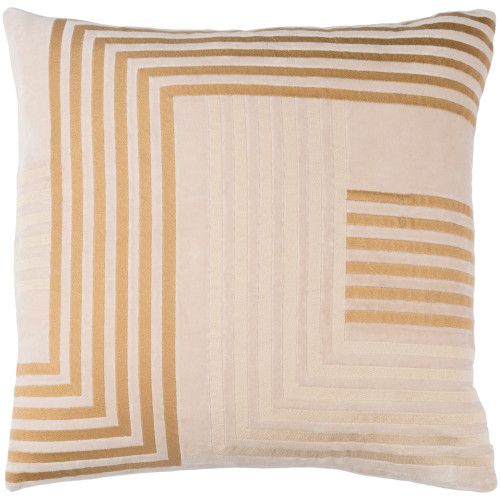 """20"""" Sepia Beige and Brown Embroidered Line Square Throw Pillow - Polyester Filler - IMAGE 1"""