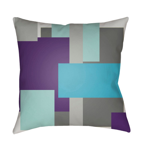 "18"" Purple and Teal Blue Throw Pillow Cover with Knife Edge - IMAGE 1"