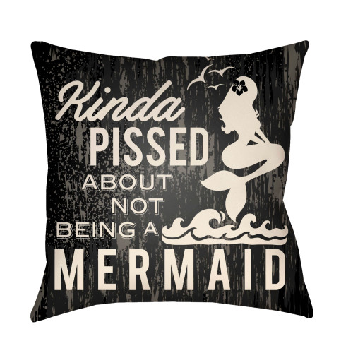 """26"""" Charcoal Black and Ivory Mermaid Typography Printed Square Throw Pillow Cover - IMAGE 1"""