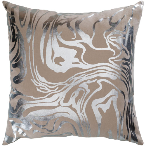 """18"""" Brown and Metallic Silver Foil Printed Abstract Design Square Throw Pillow Cover with Knife Edge - IMAGE 1"""