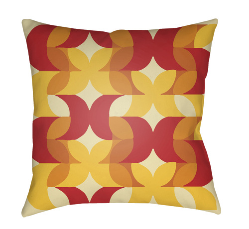 """18"""" Brown and Red Cushion Pattern Square Throw Pillow Cover - IMAGE 1"""