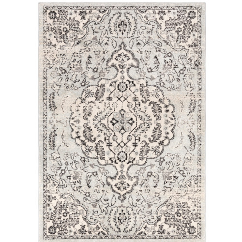 """6'7"""" x 9' Persian Floral Design Gray and White Synthetic Area Throw Rug - IMAGE 1"""