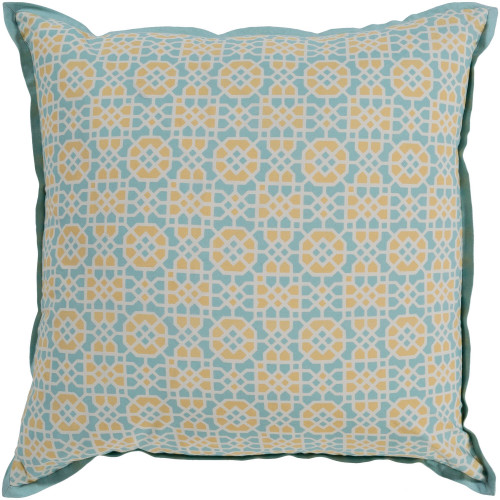"22"" Blue and Yellow Square Geometric Woven Throw Pillow - Poly Filled - IMAGE 1"