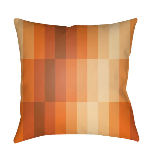 """18"""" Orange and White Digitally Printed Square Throw Pillow Cover with Knife Edge - IMAGE 1"""