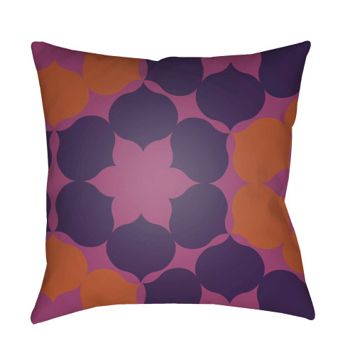 "18"" Purple and Orange Throw Pillow Cover with Knife Edge - IMAGE 1"