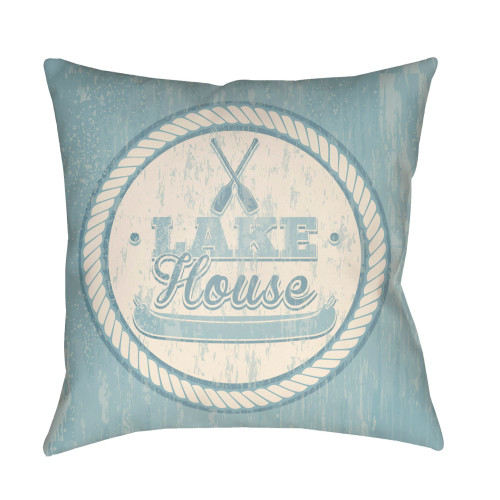 "26"" Pale Blue and Beige ""LAKE House"" Printed Square Throw Pillow Cover with Knife Edge - IMAGE 1"