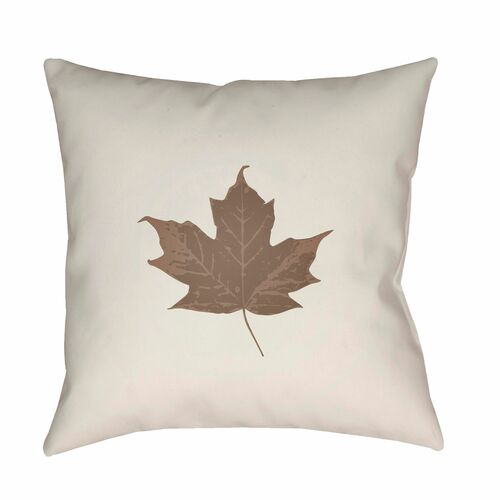"""20"""" Gray and Brown Maple Leaf Printed Square Throw Pillow Cover - IMAGE 1"""