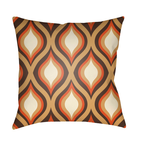 "18"" Orange and Beige Ogee Pattern Square Throw Pillow Cover - IMAGE 1"