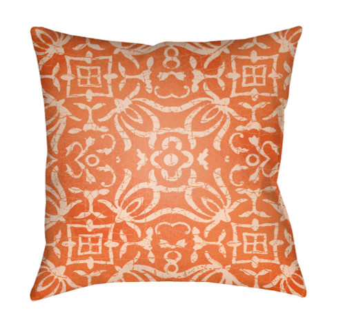 """22"""" Bright Orange and Ivory Square Throw Pillow Cover with Knife Edge - IMAGE 1"""