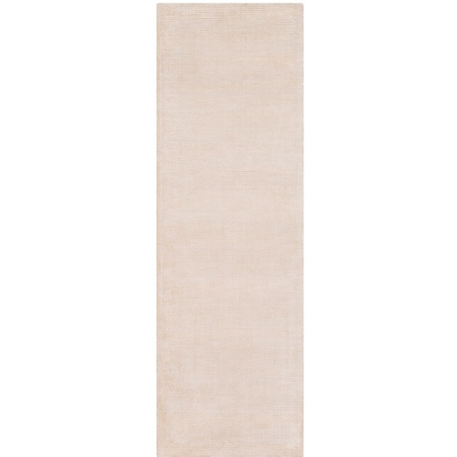 """2'6"""" x 8' Solid Patterned Gray and Beige Rectangular Hand Loomed Rug Runner - IMAGE 1"""
