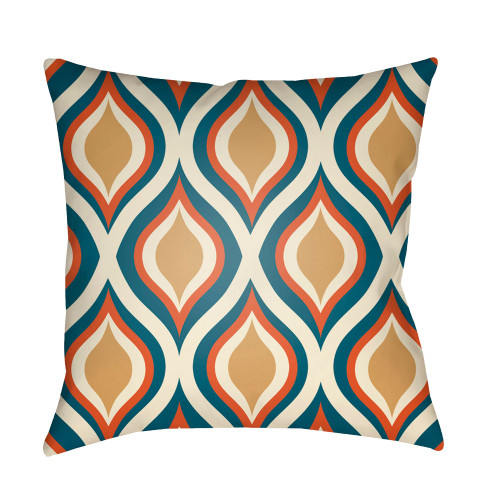 """18"""" Green and Orange Ogee Pattern Square Throw Pillow Cover - IMAGE 1"""