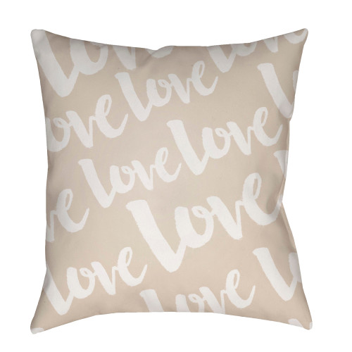 """20"""" Tortilla Brown and White """"Love"""" Printed Square Throw Pillow Cover - IMAGE 1"""