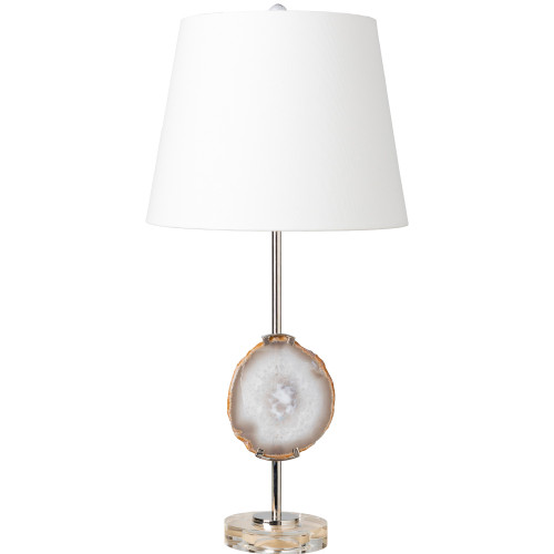 """27.25"""" Silver Organic Quartz Geode Table Lamp with White Linen Drum Shade - IMAGE 1"""