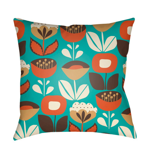 """18"""" Green and Orange Floral Square Throw Pillow Cover - IMAGE 1"""