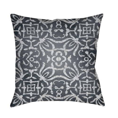 """22"""" Charcoal Gray Botanical Motifs Printed Square Throw Pillow Cover - IMAGE 1"""