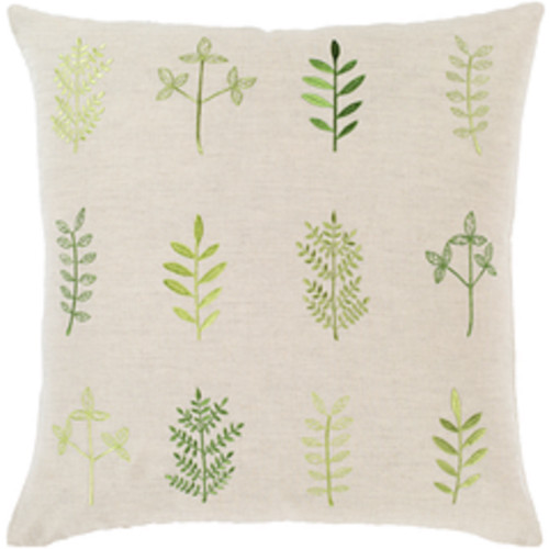 """18""""  Beige and Green Leaf Embroidered Throw Pillow Cover with Knife Edge - Down Filled - IMAGE 1"""