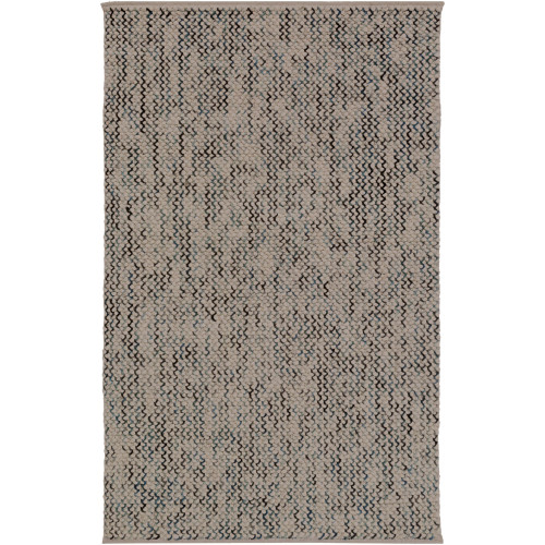 "5' x 7'6"" Brown and Blue Embossed Design Rectangular Hand Woven Area Rug - IMAGE 1"