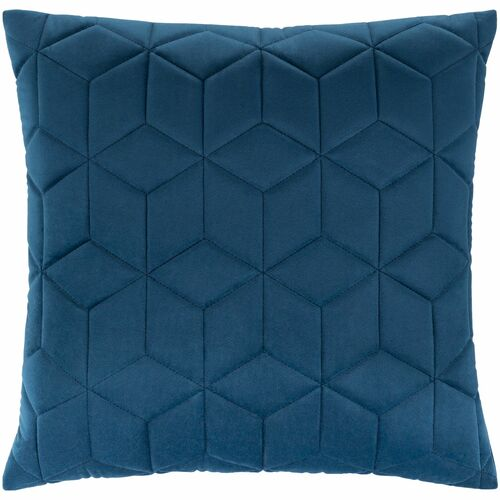"22"" Blue Geometric Square Throw Pillow Cover - IMAGE 1"