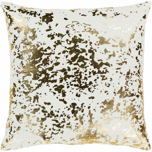 "20"" White and Metallic Gold Screen Printed Abstract Square Woven Throw Pillow Cover with Knife Edge - IMAGE 1"