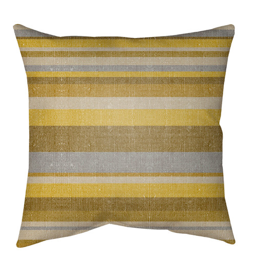 """20"""" Yellow and Gray Striped Square Throw Pillow Cover - IMAGE 1"""