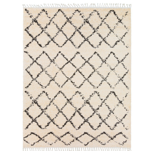 """9'2"""" x 12' Gray and Beige Moroccan Patterned Rectangular Machine Woven Area Rug with Fringe Edge - IMAGE 1"""