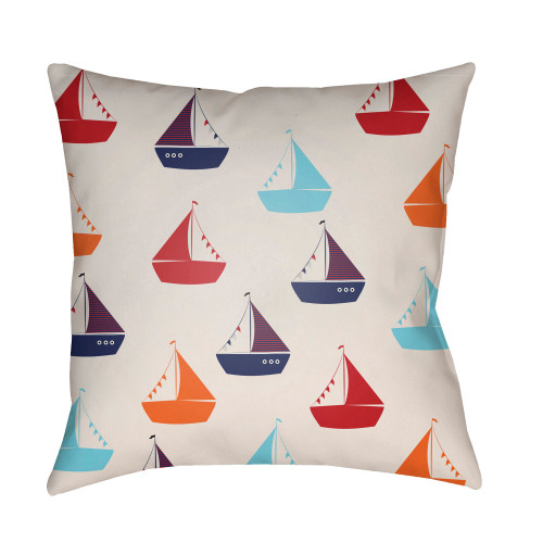 "20"" Cream White and Red Boat Printed Square Throw Pillow Cover - IMAGE 1"