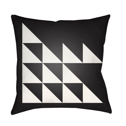 """18"""" Black and White Abstract Pattern Square Throw Pillow Cover - IMAGE 1"""