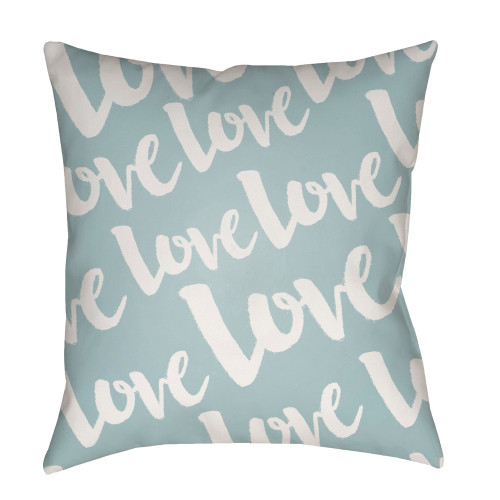 """20"""" Stone Blue and White """"Love"""" Printed Square Throw Pillow Cover - IMAGE 1"""