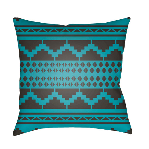 """22"""" Teal Blue and Black Contemporary Style Square Throw Pillow Cover - IMAGE 1"""