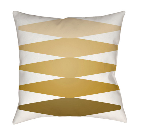 """18"""" Mustard Yellow and White Patterned Square Throw Pillow Cover - IMAGE 1"""
