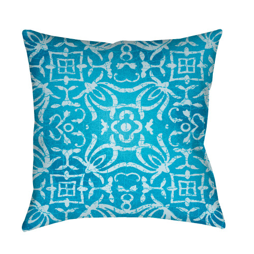 """22"""" Pale Blue Botanical Motifs Printed Square Throw Pillow Cover - IMAGE 1"""