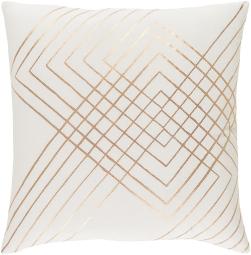 "20"" Cream and Rusting Gold Woven Decorative Throw Pillow Cover - IMAGE 1"