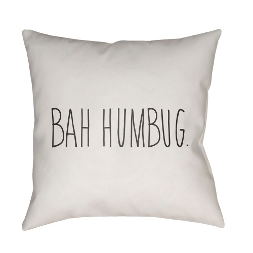 """20"""" White and Black """"Bah Humbug"""" Throw Pillow Cover - IMAGE 1"""