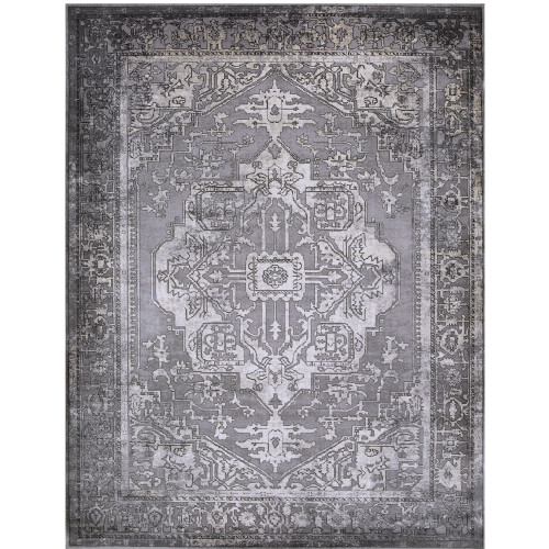 "9'3"" x 12'3"" Distressed Bohemian Gray and Ivory Rectangular Machine Woven Area Rug - IMAGE 1"