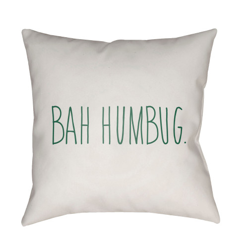 """20"""" White and Green """"BAH HUMBUG"""" Throw Pillow Cover - IMAGE 1"""