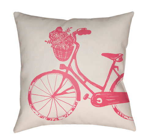 "20"" Cream White and Red Bicycle Printed Square Throw Pillow Cover - IMAGE 1"